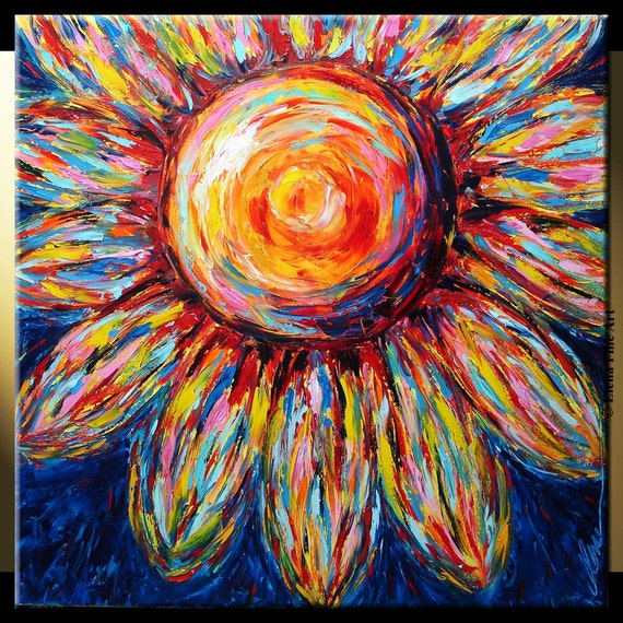 ELENA original 30x30 sunflower flowers oil palette knife painting contemporary huge