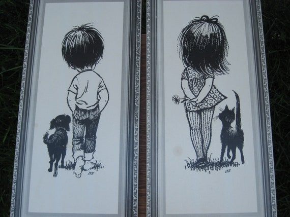 Vintage Wall Art, Lee Lithos, Big Eyed, Corkboard, Retro, Black and White, Set
