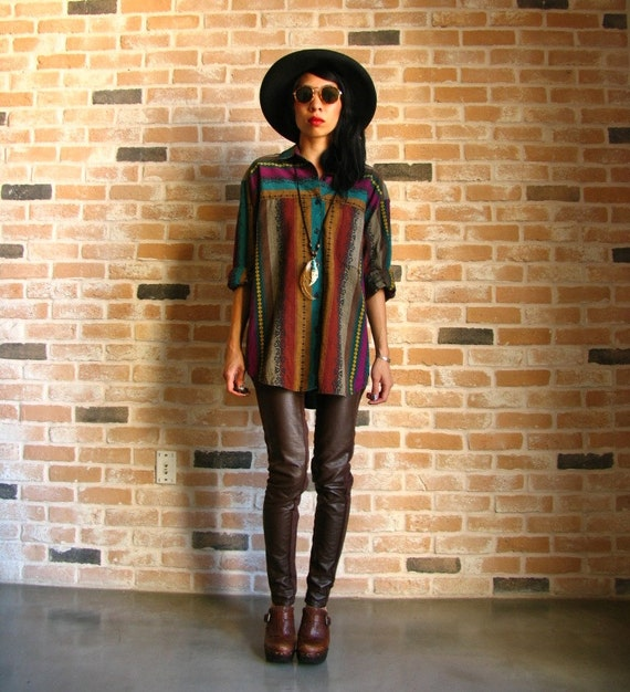70s navajo button up - oversized native american inspired blouse - medium large