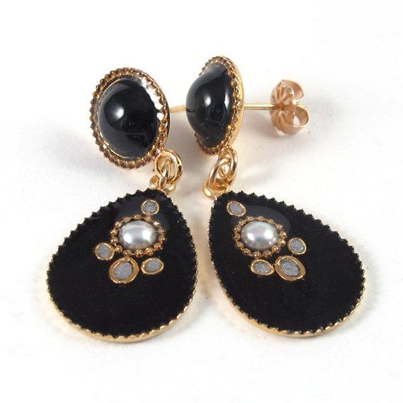 Onyx studs earrings, black post Earrings, white pearl, gold studs,  black resin,  sterling silver post, dangle drop