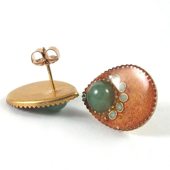 Studs earrings, Aventurine , drop Earrings --  bronze and light green resin,  sterling silver, post earrings   Swarovski crystal