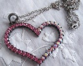 Vintage Large Open Pink Rhinestone Heart Necklace