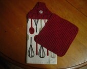 Dishtowel with crochet topper and dishcloth to match