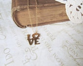 POSTAL love stamp brass necklace ( gold) bridal shower gift aniversary - brideblu