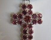 Victorian Style Rhinestone Cross Necklace