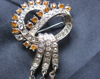 Amber and White Rhinestone Brooch with Dangles