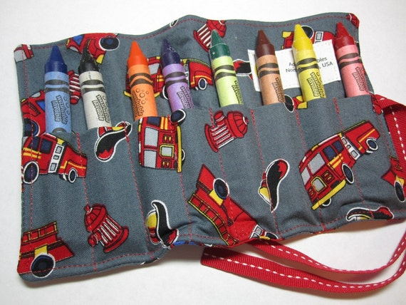 Boy's Crayon Roll - Fireman Crayon Roll - Fire Engine Truck - Large Crayons - Washable Crayola Crayons - 8 Count - Toddler
