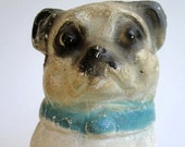 Vintage Chalk Dog Carnival Prize Chalkware Pug Bulldog