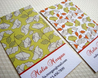 Falling Leaves Business Card Calling Card - Set of 50