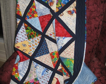Baby or Child's Quilt, Scrappy Four Square