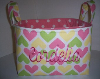 Large Cute Hearts Dots Fabric Diaper Caddy / Organizer Bin - Personalized