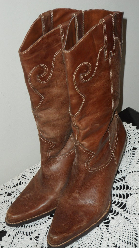 silvrado brown western cowboy boots womens size 8 1/2 m made in brazil distressed and ready to wear 3 inch heel