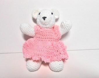 Baby Bear in Crocheted Pink Dress