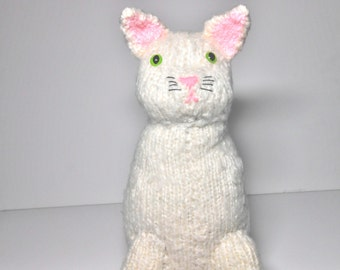 Hand Knitted White Cat With Pink Ears and Nose