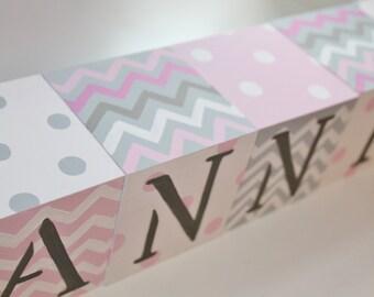 CHEVRON DOTS Jumbo Handpainted Blocks with Personalized Birth Info