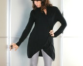 Black Wool Long-Length Asymmetric Cardigan  Size S M L XL