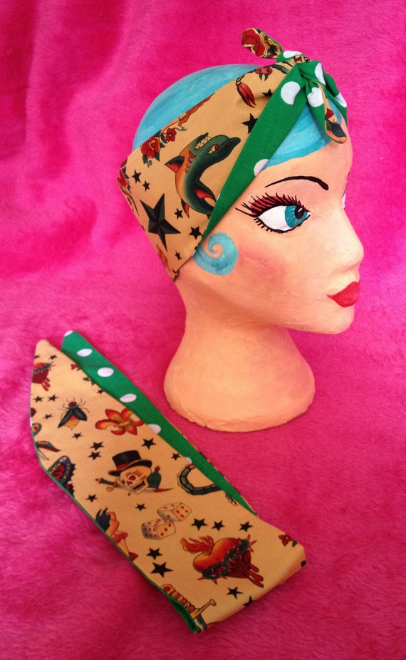 Sailor Jerry Style tattoo print and green polka dothair tie, bandana, head scarf, reversable handmade,