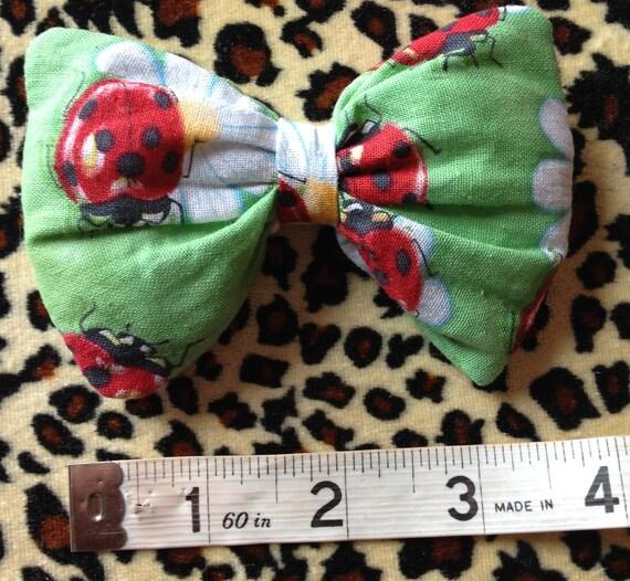 Hand made hair bow, ladybug/bird, daisy, tulle stuffed, large, Rockabilly