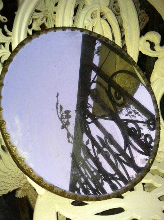 Antique Vintage Vanity Mirror Plateau Tray Display Round