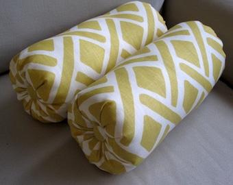 PAIR linen bolster pillows yellow off white 6x14 6x16 6x18 6x20 6x22