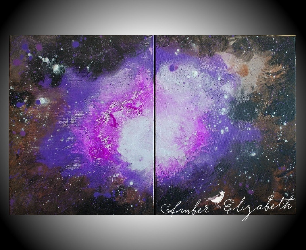 Large original painting the amethyst galaxy 32 x 20 acrylic on for How to paint galaxy