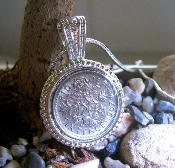 1967 Sixpence Pendant Necklace Queen Elizabeth II Coin
