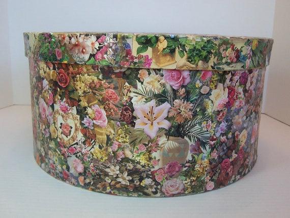 Decoupage Large Round Hat Box Floral Garden Motif Paper Mache