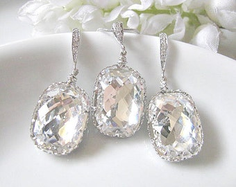 Baguette Swarovski Crystals In White Gold Bridal Earrings And Necklace Set - Bridal Jewelry Set, Bridesmaid Jewelry Set, Wedding Set