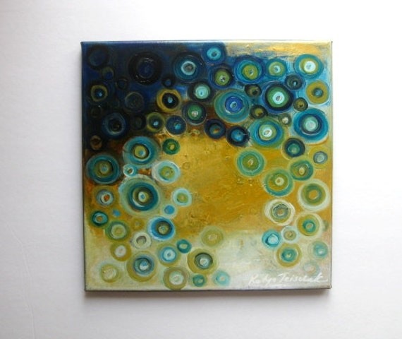 """Turquise and Gold oil on canvas painting, oriinal abstracts, 12x12"""" Decorative Blue with Gold, original oil painting on canvas"""