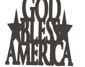 God bless America word silhouette