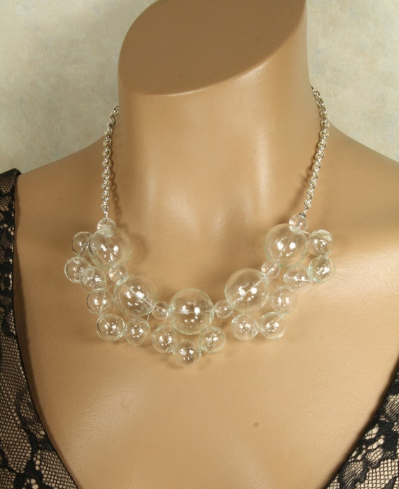 Clear Blown Glass Bubble Statement Necklace MOMA Chunky Clustered, Floating