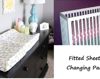 2-Piece Crib Bedding Set, Sheet and Changing Pad Cover--YOU DESIGN, I CREATE