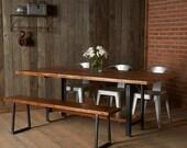 "Reclaimed Wood Industrial modern-styled Brooklyn Bench (1.65"" Standard Top, 60""L x 11.5""w x 18""h)"