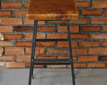 "2 Farmhouse Wood and Steel Industrial Shop Stools. Made in Chicago. Qty (2) 25"" counter height - QUICK SHIPPING"