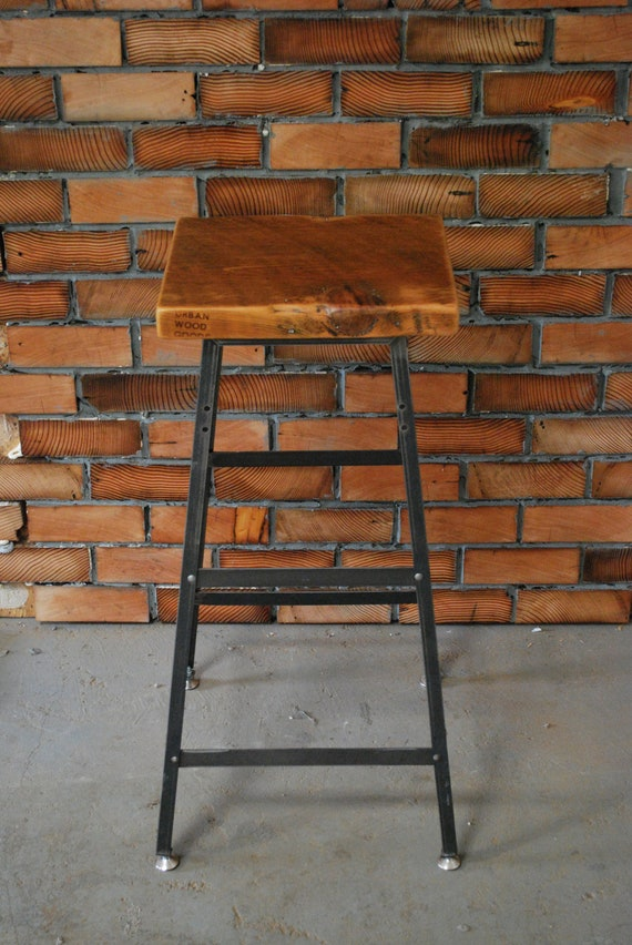 2 farmhouse wood and steel industrial shop stools
