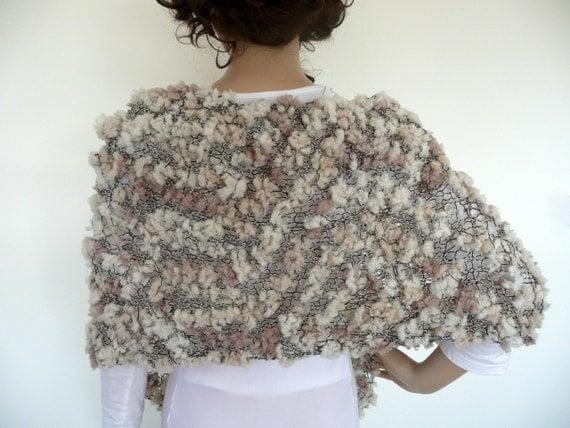 Hand knit shawl / scarf in classic neutrals - cream , nougat and black, cream  - unique