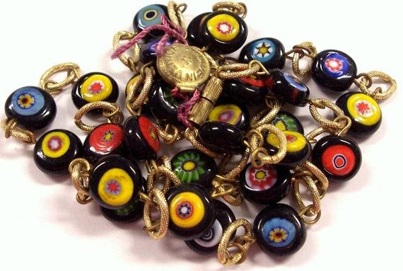 VINTAGE Murano Millefiori NECKLACE Beads Millefiori Glass Mosaic Flat Beads GoLD Necklace Unused Store Stock Vintage Jewelry Destash (L78)