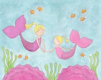 Mermaid Sisters- Blonde-8X10 Print