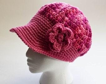 Crochet Newsboy Cap Paperboy Hat Crochet Hat Women Girl Toddler Newborn Hat Accessories Flower Brim Photo Prop Gift