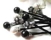 Hair Pins Black White Pearls and Crystal Rhinestones