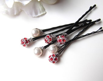 Red and White Wedding Hair Pins Set