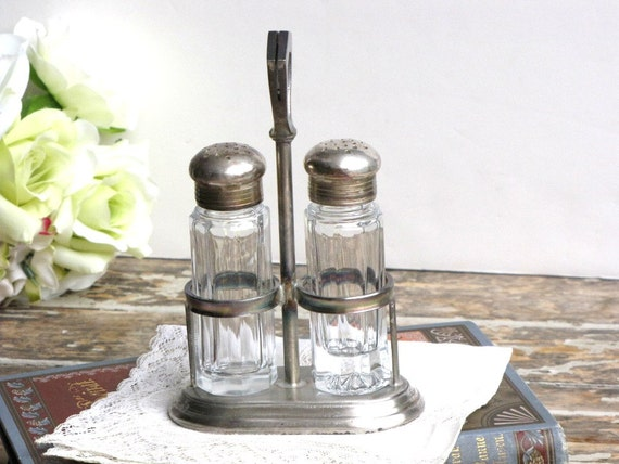 Vintage Silver Salt And Pepper Shakers Vintage Crystal Salt And Pepper Shakers Caddy Hotel Ware 1940s Wedding Decor from AllieEtCie