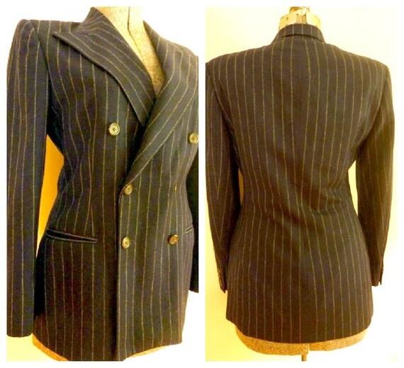 Ralph Lauren Pinstriped Blazer/Jacket Vintage 1980s