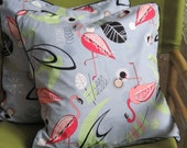 Set of Two Retro Atomic Mid Century 18 x 18 Cotton Flamingo Pillow Covers - New Vintage Inspired