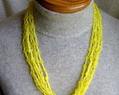 Multistrand. YELLOW. BEAD NECKLACE. 24 inch Hong Kong vintage 1960s