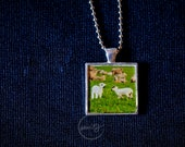 Square Pendant with Two Lambs and Bead Chain