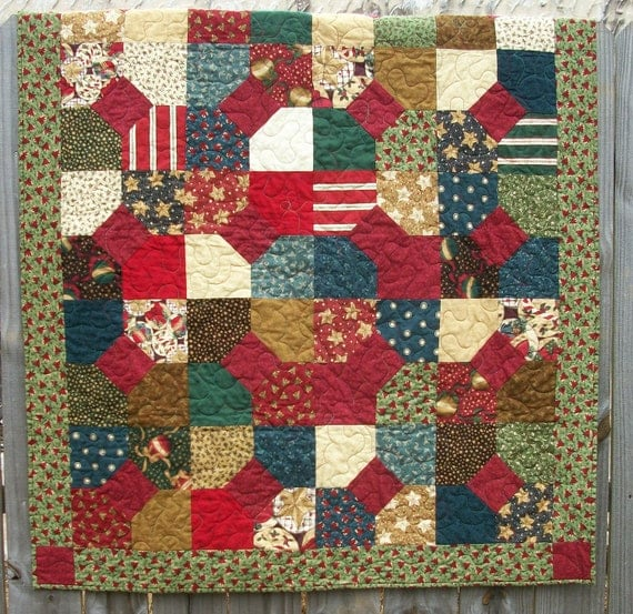 Christmas Lap Quilt Thimbleberries Christmas Punch Quilted Winter Holiday Quiltsy Handmade FREE U.S. Shipping