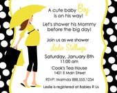 Custom Chic Baby Shower Invitation with Mommy Silhouette Card Invite Black Yellow Polka Dots Digital card YOU PRINT printable girl or boy