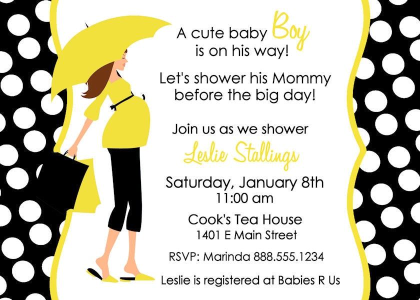 baby shower invitation black yellow navy mommy silhouette card, Baby shower invitation