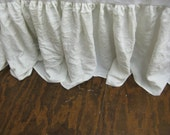 "King Bed Skirt in Washed Vintage White Linen-18"" Drop Length--Other Colors Available-Other Sizes Available"